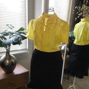 Yellow button-down blouse